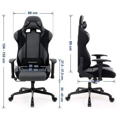 Gamestoel met kantelfunctie en verstelbare armleuningen (grijs/zwart)