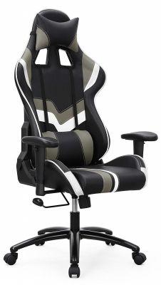 Gamestoel met kantelfunctie en verstelbare armleuningen (zwart/grijs/wit)