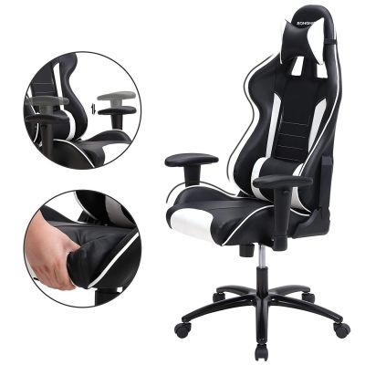 Gamestoel met kantelfunctie en verstelbare armleuningen (zwart/wit)