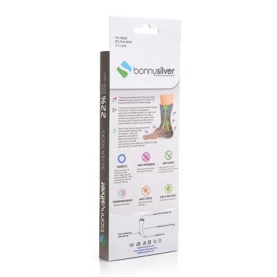 Bonnysilver zilversokken diabetes sokken verpakking achterkant