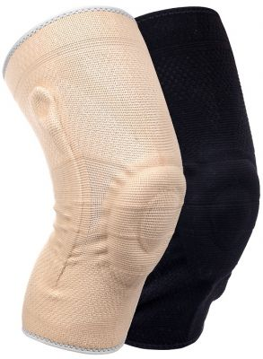 Medidu Premium kniebrace met baleinen beige en zwart vooraanzicht