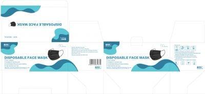 Verpakking van zwarte mondkapjes