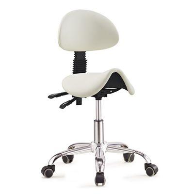 ergolution ergonomische zadelkruk met rugleuning wit vanaf de linker zijkant