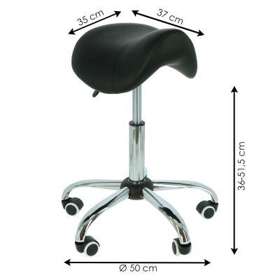 afmetingen van de ergolution ergonomische zadelkruk zwart