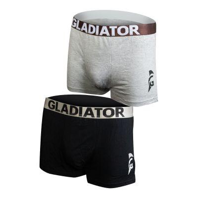 gladiator sports bamboe boxershorts 2 pack grijs zwart