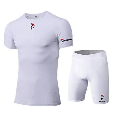 gladiator sports compressiebroek liesbroek en shirt heren in wit