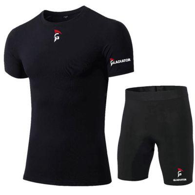 gladiator sports compressiebroek liesbroek en shirt heren in zwart