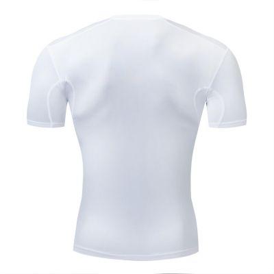 gladiator sports pakket compressiebroek en shirt dames shirt in wit van achteren gefotografeerd