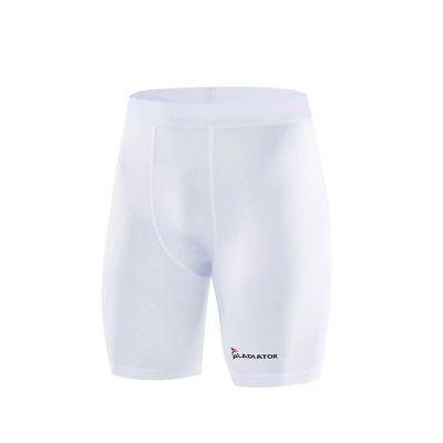 gladiator sports pakket compressiebroek en shirt dames broek in wit vanaf de zijkant gefotografeerd