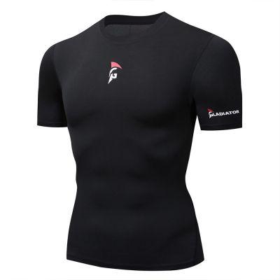 gladiator sports pakket compressiebroek en shirt dames shirt in zwart vanaf de zijkant gefotografeerd