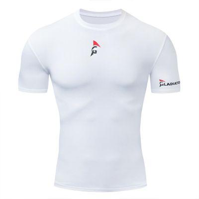 gladiator sports pakket compressiebroek en shirt dames shirt in wit van voren gefotografeerd