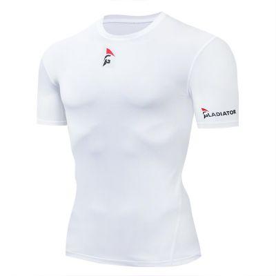 gladiator sports pakket compressiebroek en shirt dames shirt in wit vanaf de zijkant gefotografeerd