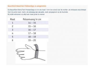Maattabel Bauerfeind ManuTrain Polsbrace