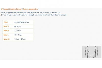 Maattabel LP Support Kruisbeschermer / Tok