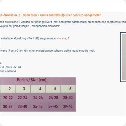 Maattabel Novamed Steunkousen drukklasse 2