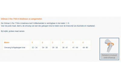 Maattabel Orliman 3-Tex 7104-A Kniebrace