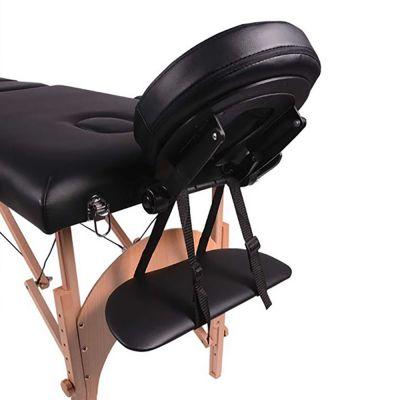 medidu massage tafel houten frame inklapbaar hoofdsteun gedeelte foto van onderen genomen