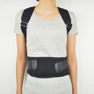 medidu premium houding corrector posture corrector ventilerend gedragen door vrouwelijk model van voren gefotografeerd