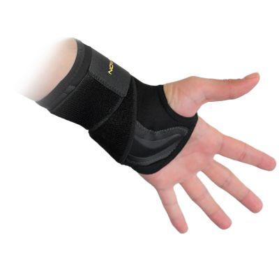 novamed lichtgewicht polsbrace beschikbaar in zwart en beige om linkerhand