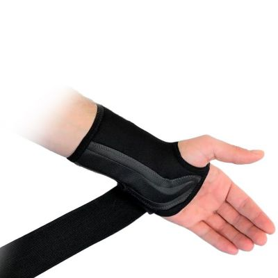 novamed lichtgewicht polsbrace beschikbaar in zwart en beige klittenband strap