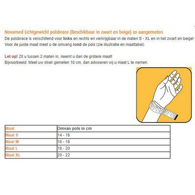 novamed lichtgewicht polsbrace beschikbaar in zwart en beige maattabel
