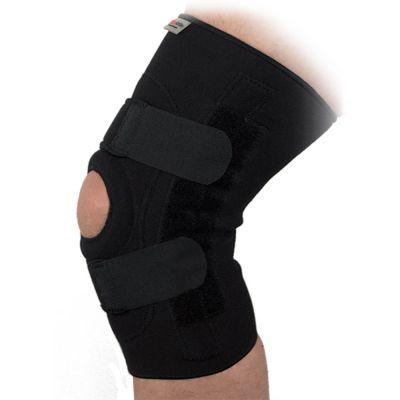 super ortho lichtgewicht kniebrace met baleinen en extra kruiswaarste banden gedragen om rechterknie