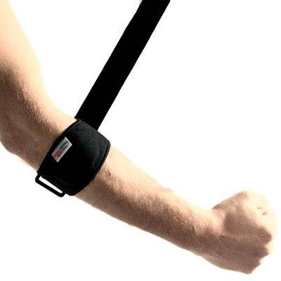 super ortho tennisarm tenniselleboog golfarm bandage met klittenband strap uitgetrokken