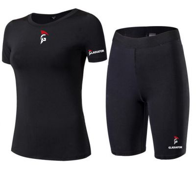 Gladiator Compressie broek en shirts zwart dames